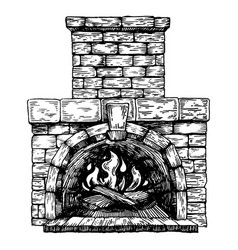 Fire in fireplace engraving vector