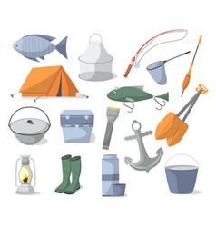 fishing icons set in cartoon style vector image