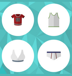 Flat icon dress set of brasserie singlet vector