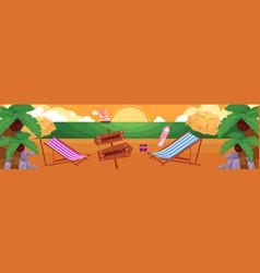 Flat tropical sea beach vacation panorama vector