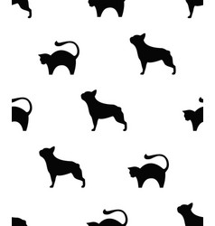 frenchie and cat seamless pattern vector image