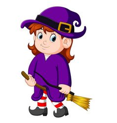 Girl witch with a broom vector