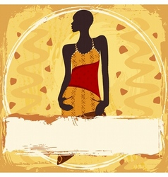 Grungy banner with an African woman vector