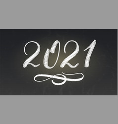 handwritten chalk number new year 2021 vector image