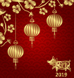 Happy oriental card for chinese new year 2019 vector