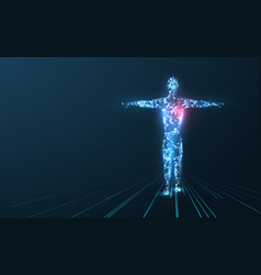 Human body low poly wireframe vector