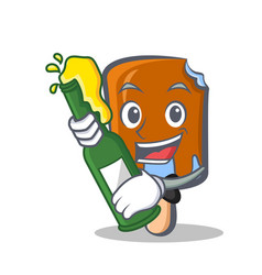 Ice cream character cartoon with beer vector