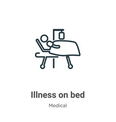 Illness on bed outline icon thin line black vector