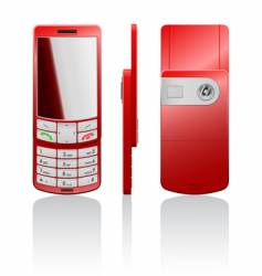 Illustration of a red cellphone vector