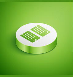 Isometric commandments icon isolated on green vector