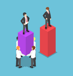 isometric leader use his employees carrying and vector image