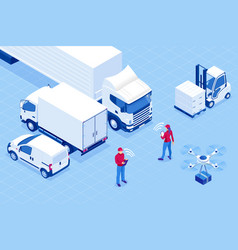 Isometric online express free fast delivery vector