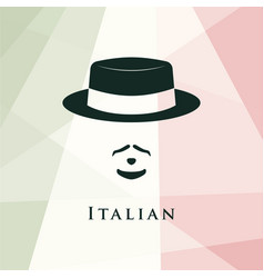 Italian men avatar on italian flag background vector