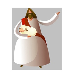 Jesus Christ holding sheep vector image
