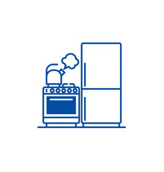kitchenrefrigerator stove kettle line icon vector image