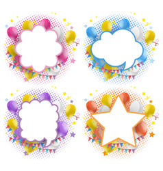 label design with balloons and flags vector image vector image