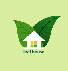 leaf house vector image