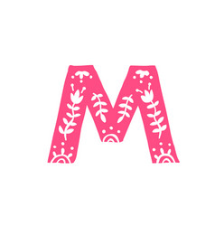 letter m pink letter with ornament applique for vector image
