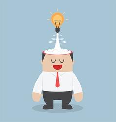 Light bulb idea exploding from businessman head vector