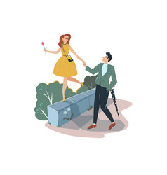 Lovely romantic date man holding hand sweetheart vector