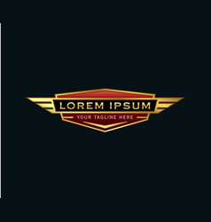 luxury badge wings logo auto design concept vector image