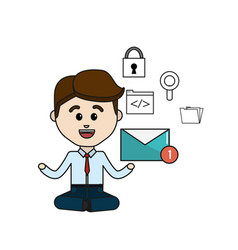 Man with message in the hand and technology icons vector