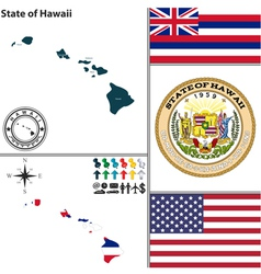 Map hawaii with seal vector