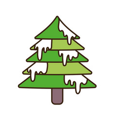 merry christmas celebration decoration tree with vector image
