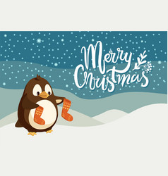 Merry christmas greeting card penguin cartoon vector