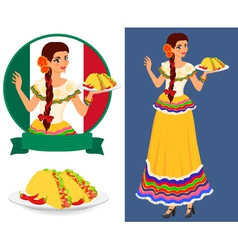 Mexican girl with taco vector image
