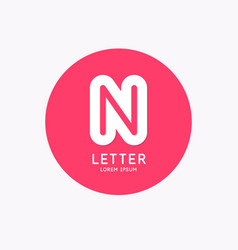 modern linear logo and sign letter n vector image