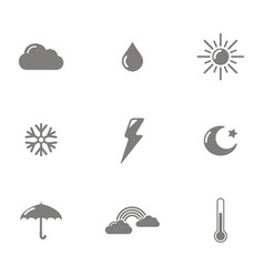 monochrome set with weather icons vector image