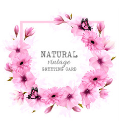 natural vintage greeting card with pink flowers vector image