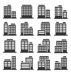 office building icons set on white background vector image