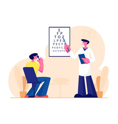 Ophthalmologist doctor check eyesight for vector