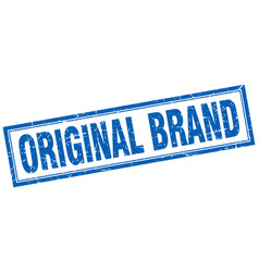 Original brand blue square grunge stamp on white vector