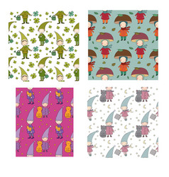 pattern with little cute gnomes forest elves vector image