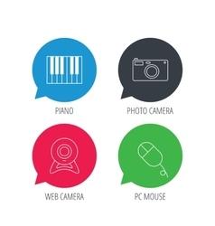Piano web camera and photo camera icons vector