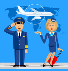 Pilot and stewardess in uniform on blue vector