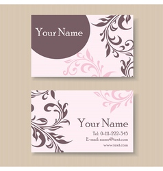 Pink business card with floral elements vector