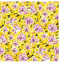Positive mood bright yellow floral tile pattern vector