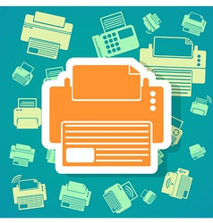 Printer icons background vector image