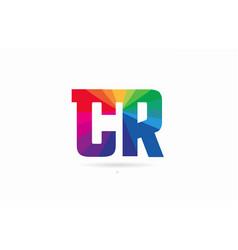 rainbow colored alphabet combination letter cr c vector image