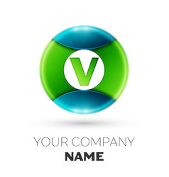 Realistic letter v logo symbol in colorful circle vector