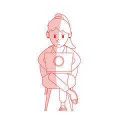 Red shading silhouette cartoon woman sitting in vector