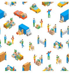 Relocation service 3d seamless pattern background vector