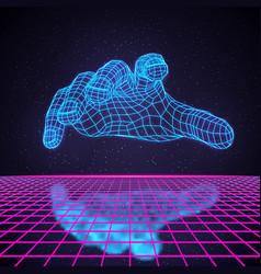 Retro 80s futuristic deep space design polygonal vector