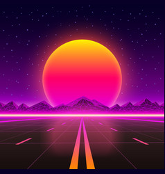 Road to infinity at sunset vector