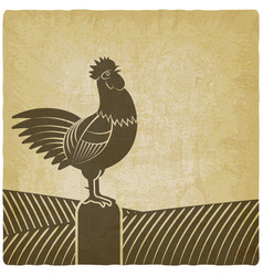 Rooster crowed in farm fields vintage background vector
