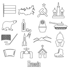Russia country theme outline symbols icons set vector image